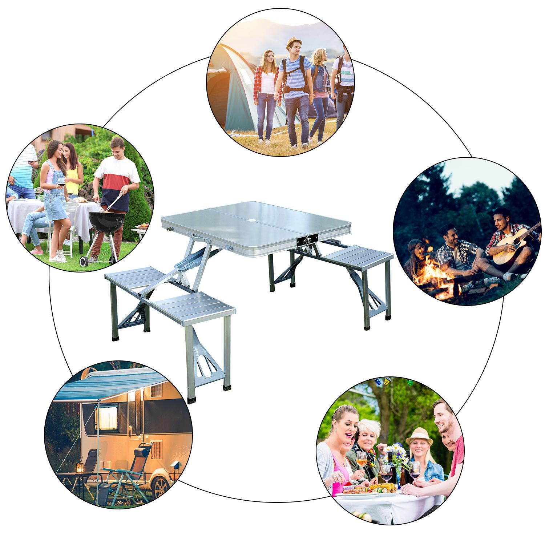 thumbnail 46 - Portable Folding Camping Picnic Table Party Outdoor Garden Chair Stools Set