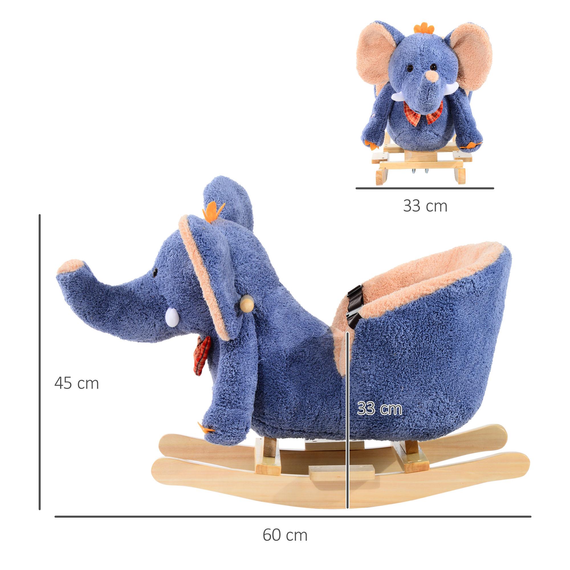 miniature 3 - Enfants en Bois Cheval à Bascule Rocker éléphant Ride Sur Jouet Cadeau Siège chansons