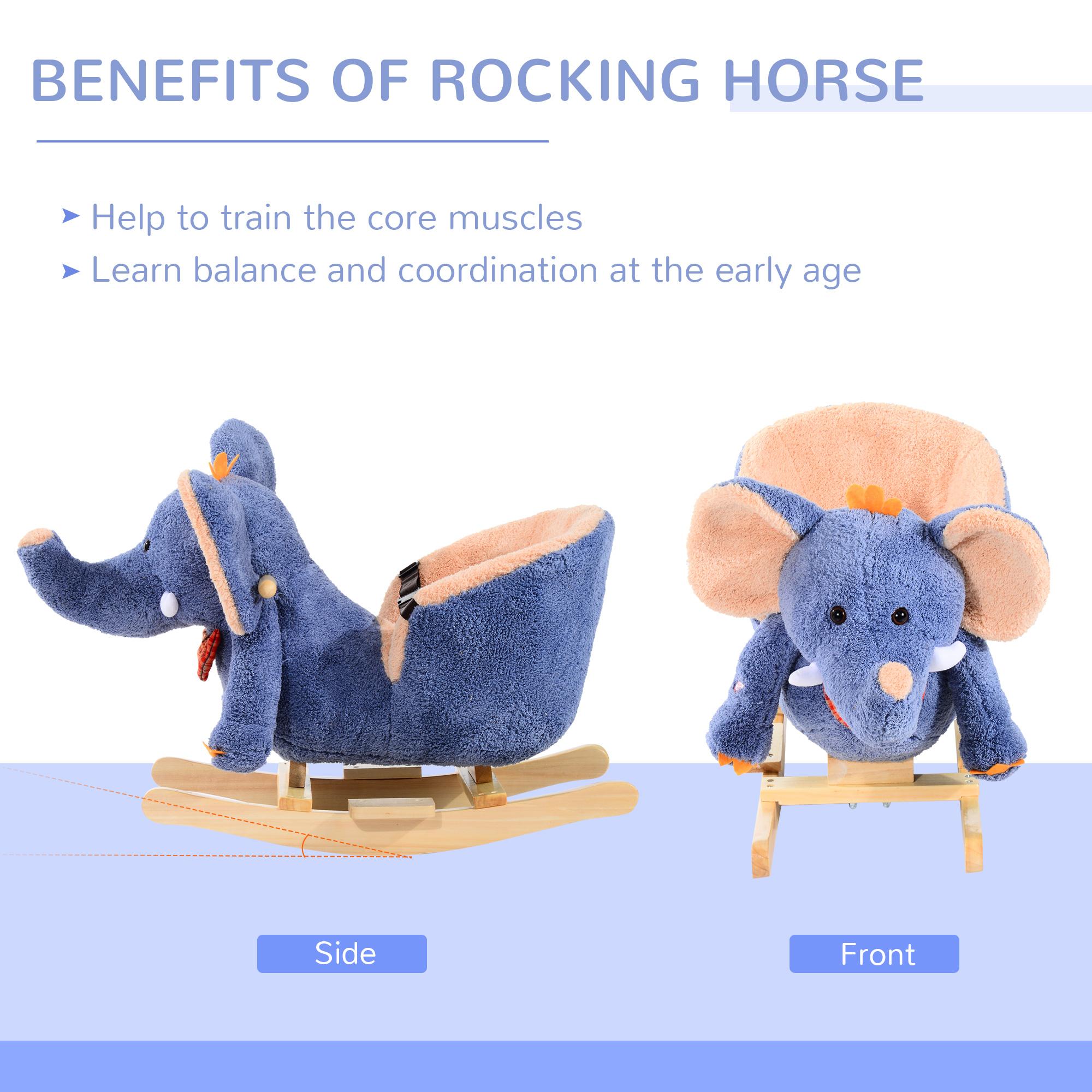 miniature 4 - Enfants en Bois Cheval à Bascule Rocker éléphant Ride Sur Jouet Cadeau Siège chansons
