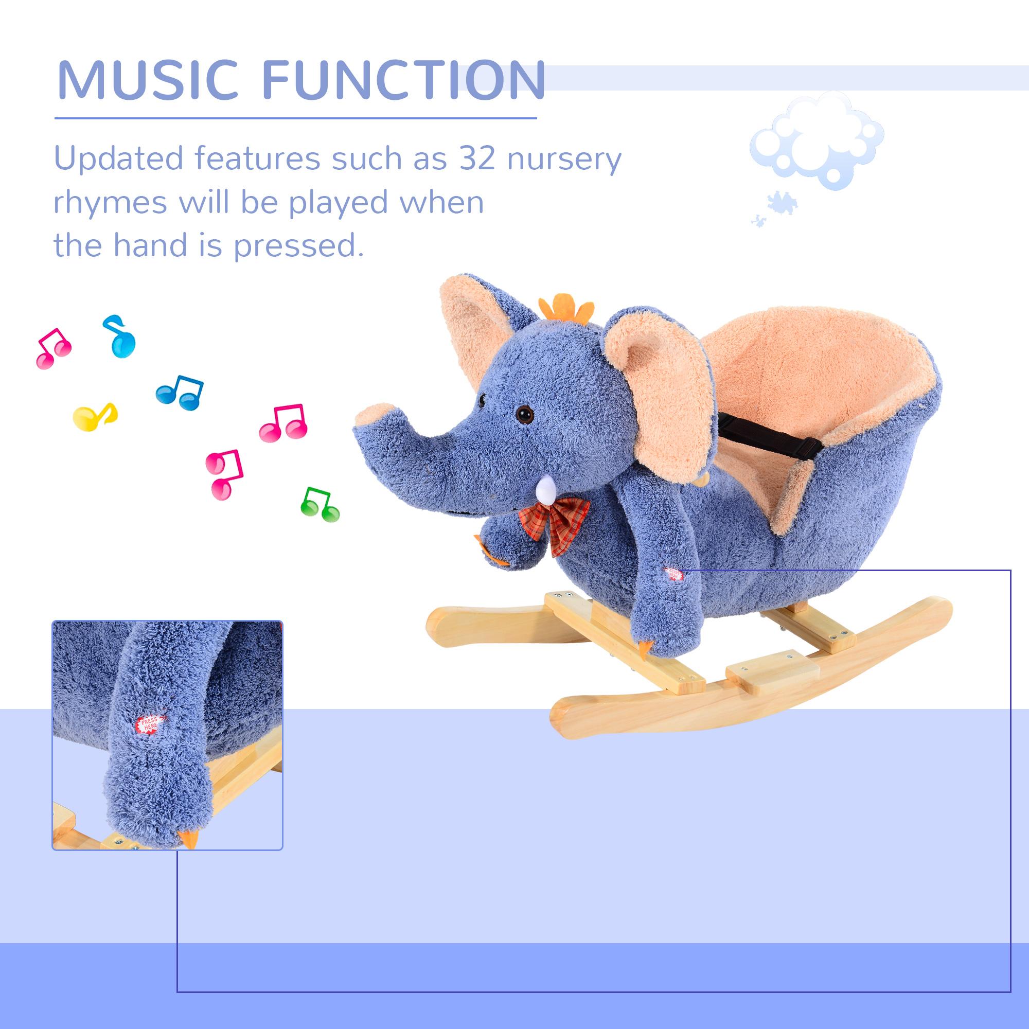 miniature 8 - Enfants en Bois Cheval à Bascule Rocker éléphant Ride Sur Jouet Cadeau Siège chansons