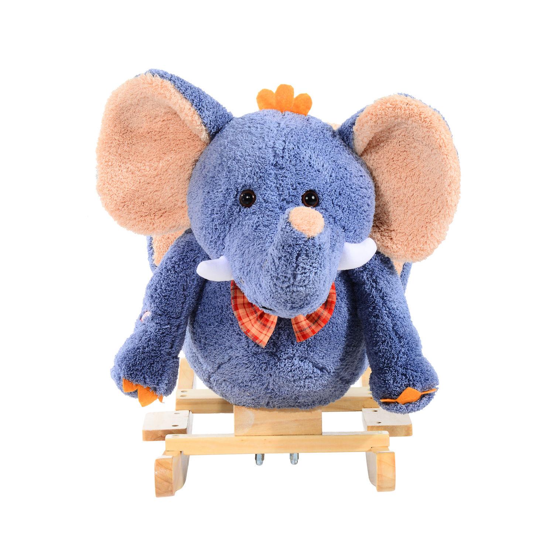 miniature 9 - Enfants en Bois Cheval à Bascule Rocker éléphant Ride Sur Jouet Cadeau Siège chansons