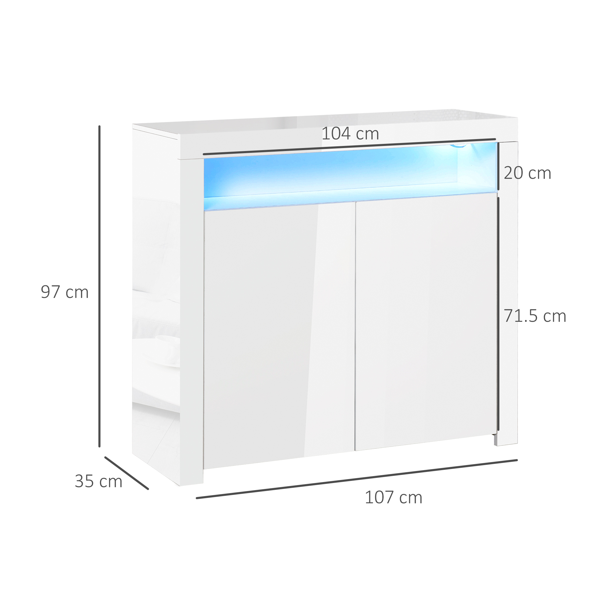 thumbnail 11 - High Gloss LED Cabinet Cupboard Sideboard Console with RGB Lighting