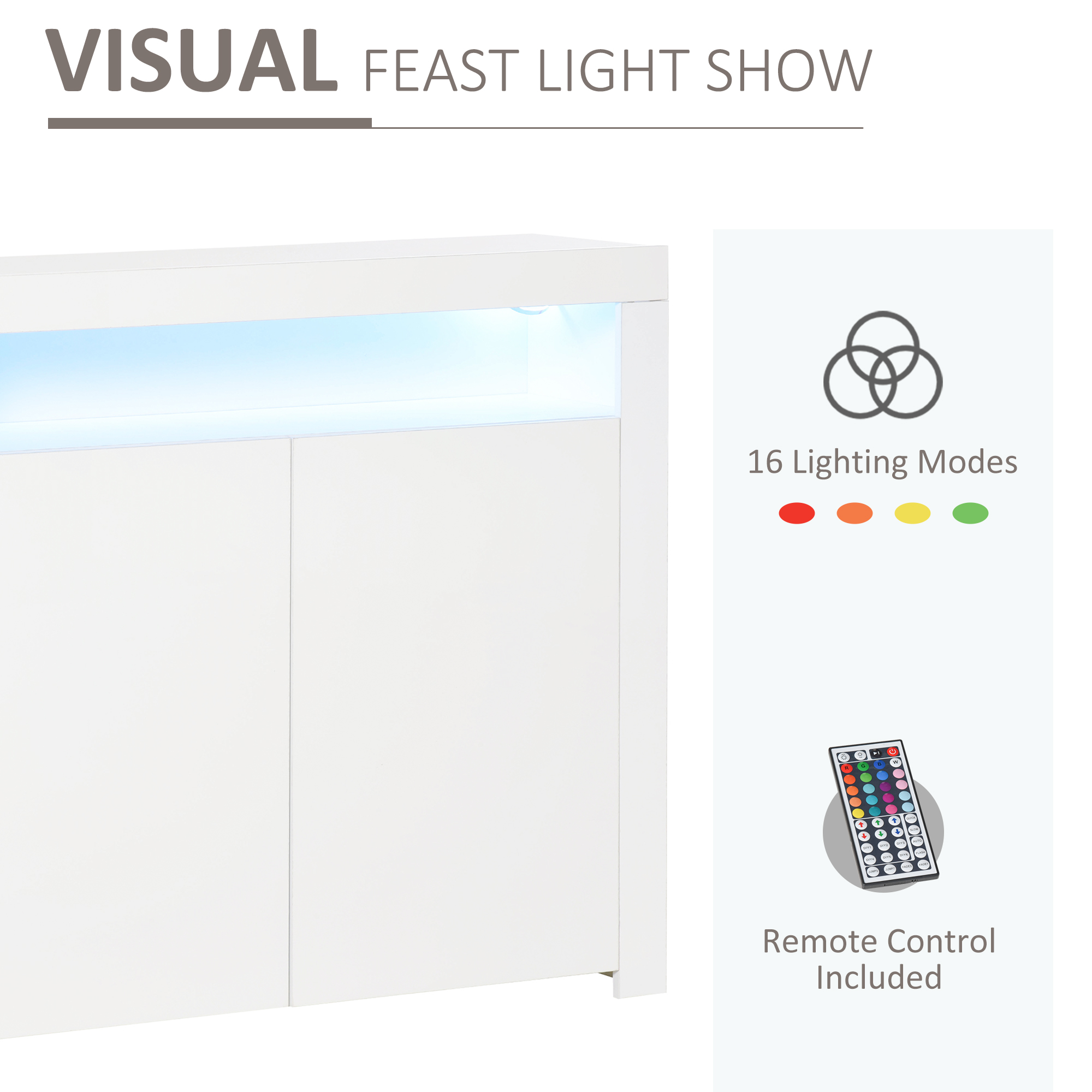 thumbnail 13 - High Gloss LED Cabinet Cupboard Sideboard Console with RGB Lighting