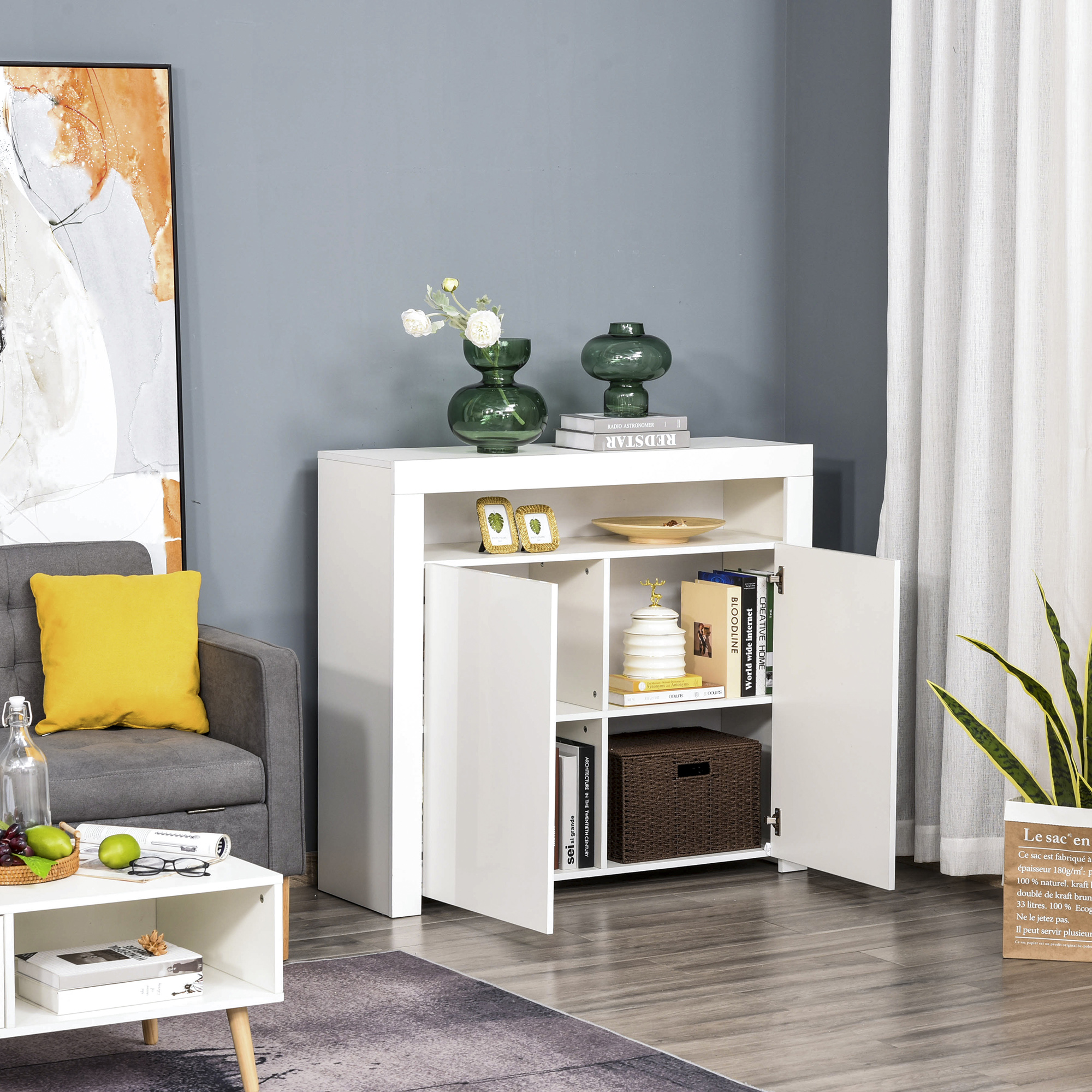 thumbnail 16 - High Gloss LED Cabinet Cupboard Sideboard Console with RGB Lighting