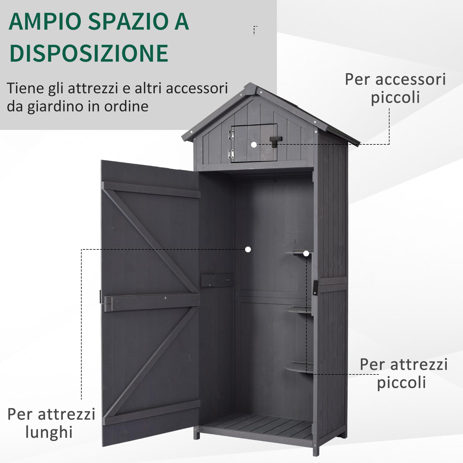 miniatura 15 - Outsunny  Armadietto da Giardino Esterno Porta Attrezzi in Legno con 3 Mensole