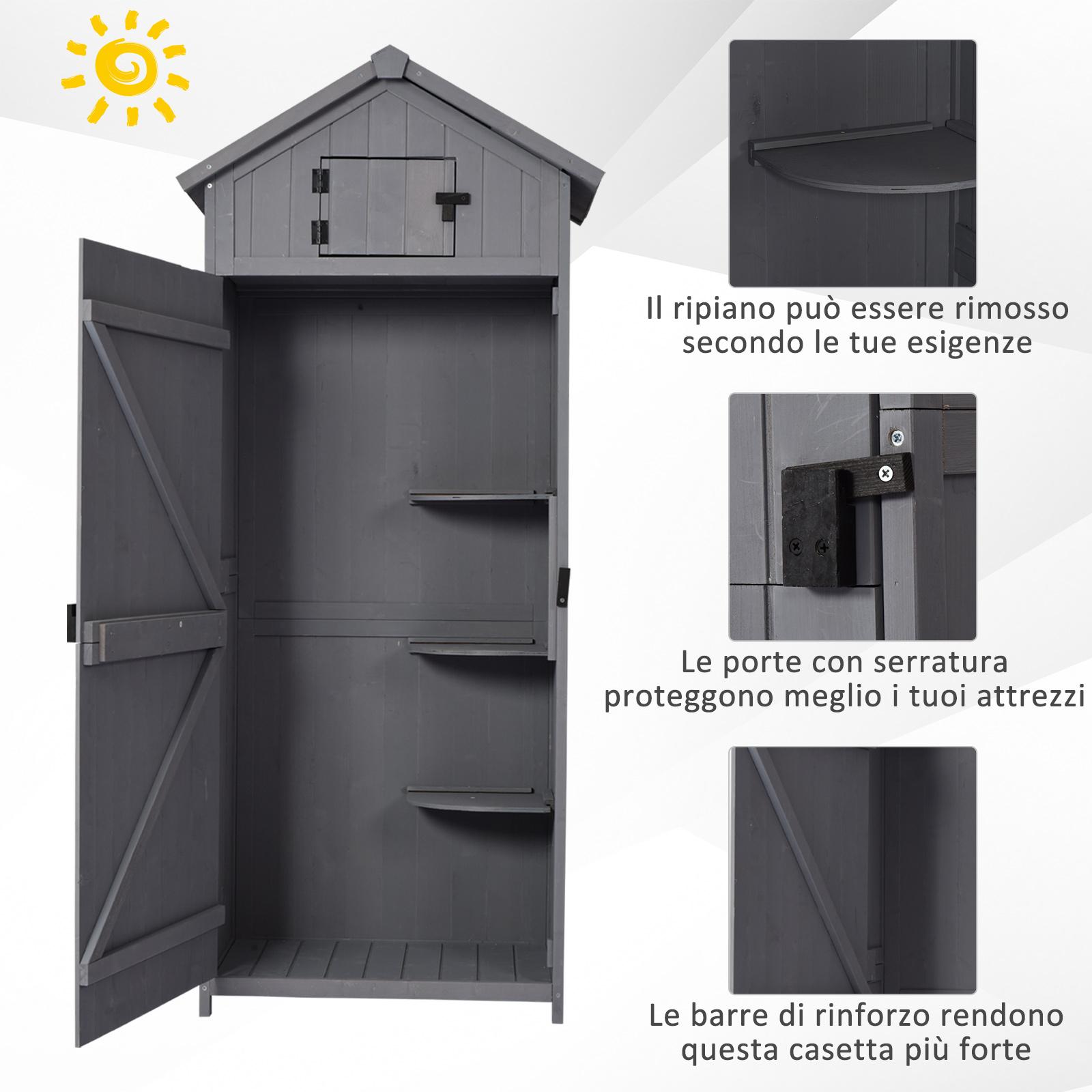 miniatura 17 - Outsunny  Armadietto da Giardino Esterno Porta Attrezzi in Legno con 3 Mensole