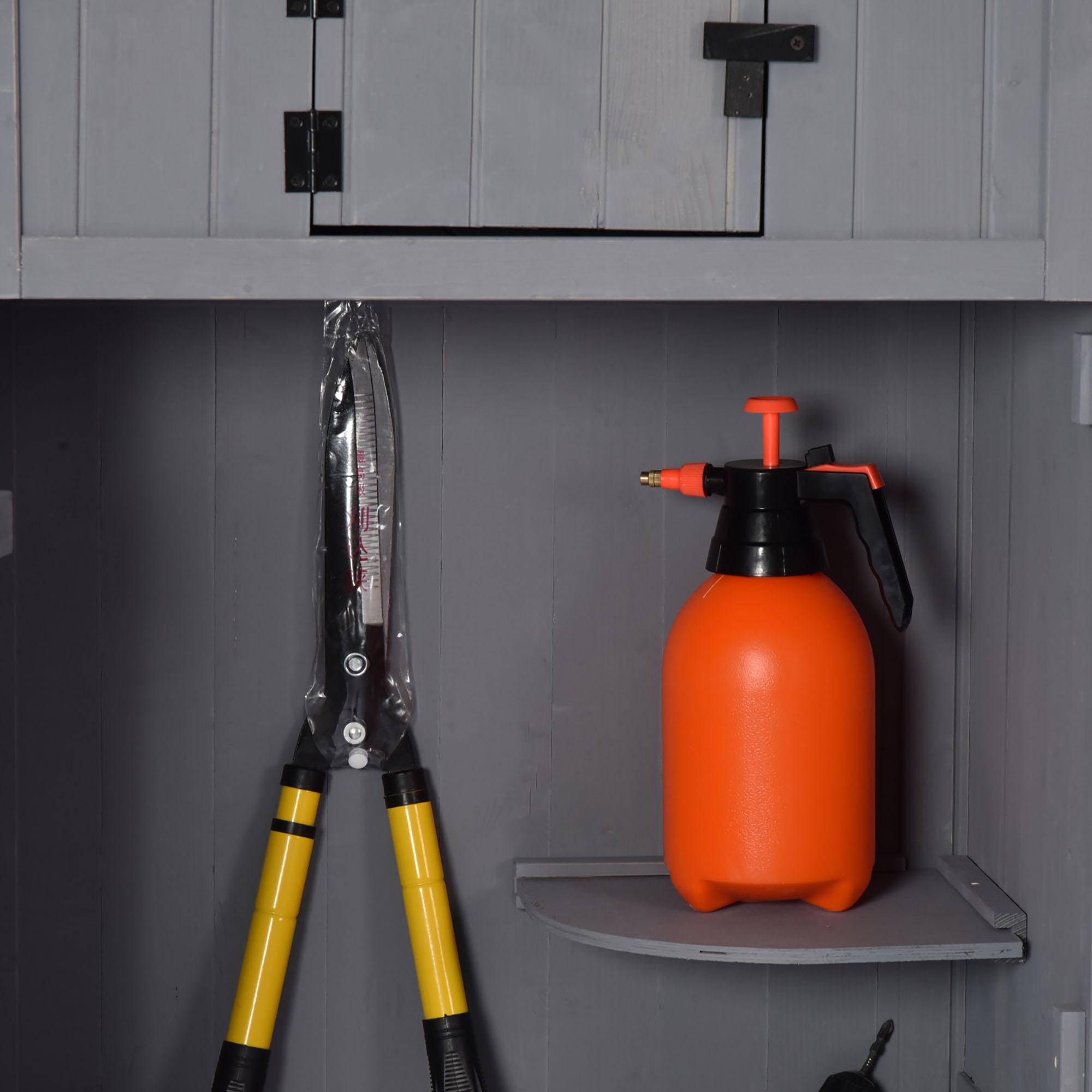 miniatura 18 - Outsunny  Armadietto da Giardino Esterno Porta Attrezzi in Legno con 3 Mensole