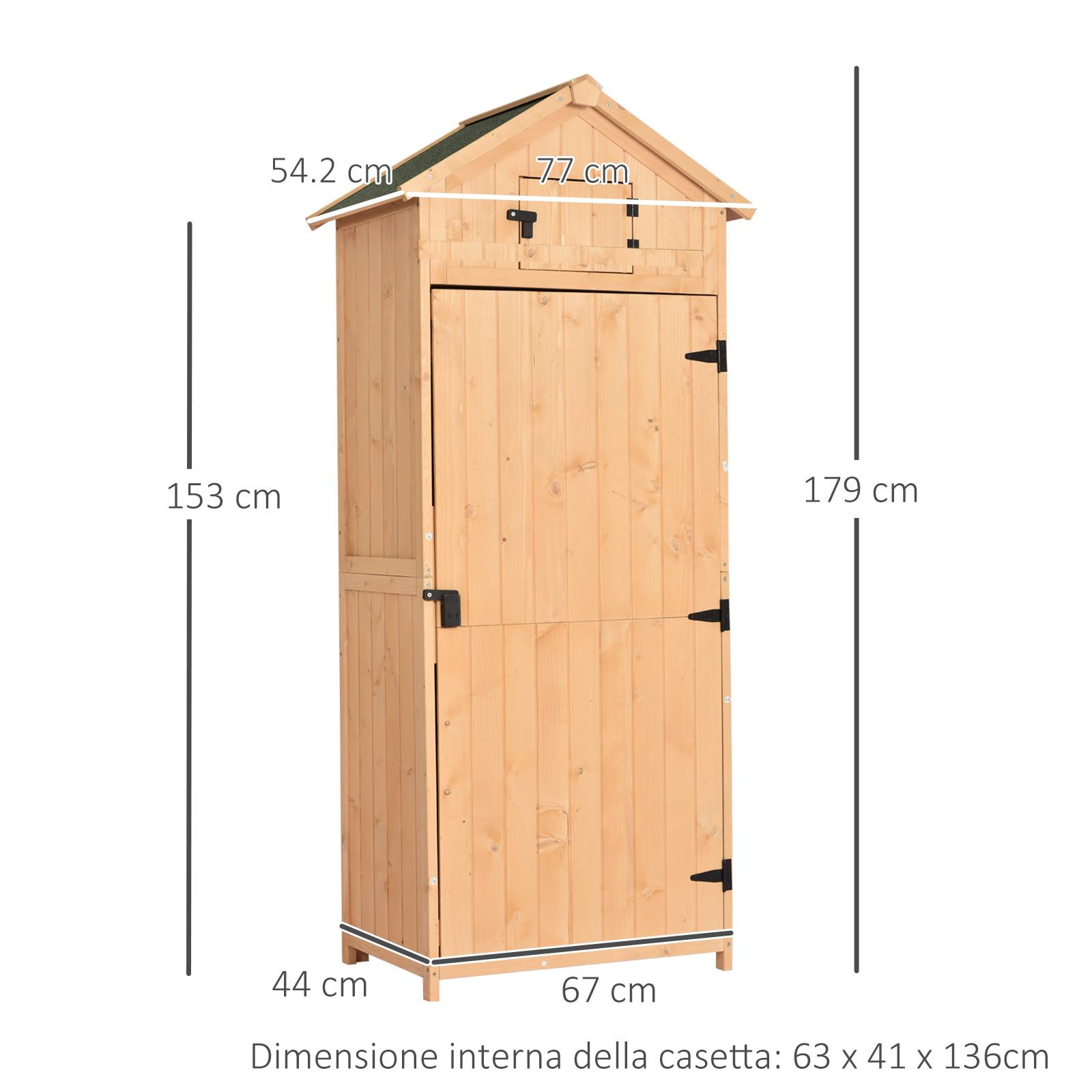 miniatura 23 - Outsunny  Armadietto da Giardino Esterno Porta Attrezzi in Legno con 3 Mensole