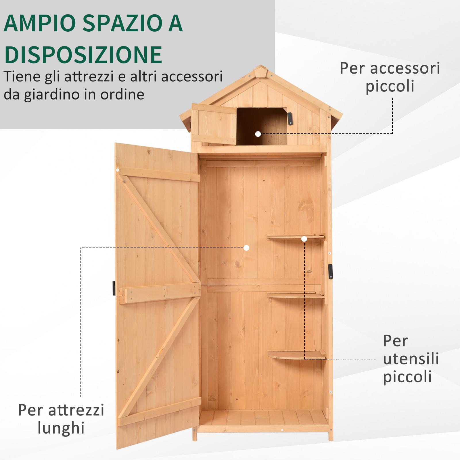 miniatura 25 - Outsunny  Armadietto da Giardino Esterno Porta Attrezzi in Legno con 3 Mensole