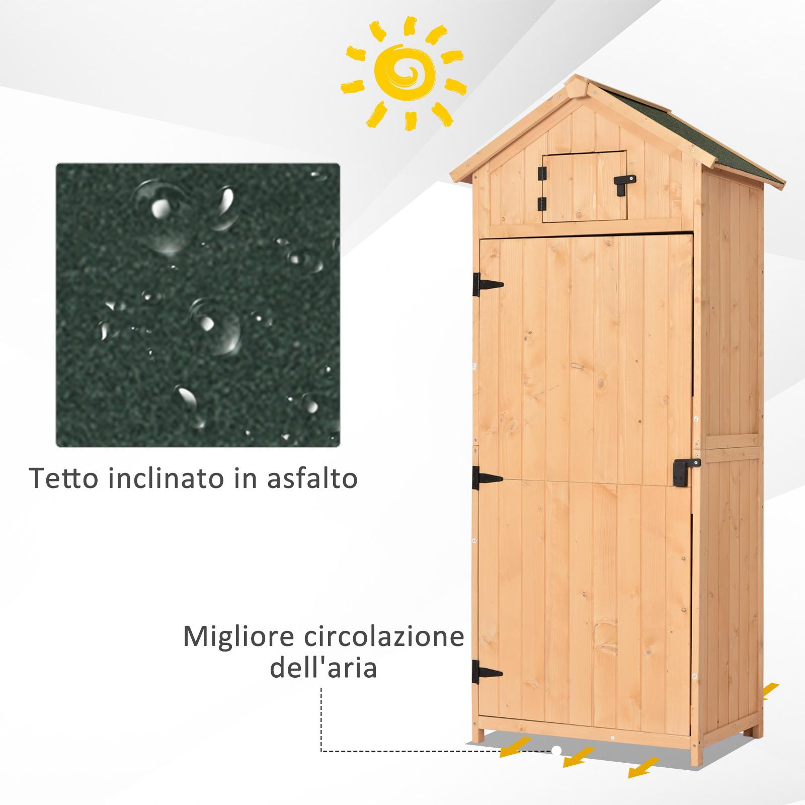 miniatura 26 - Outsunny  Armadietto da Giardino Esterno Porta Attrezzi in Legno con 3 Mensole