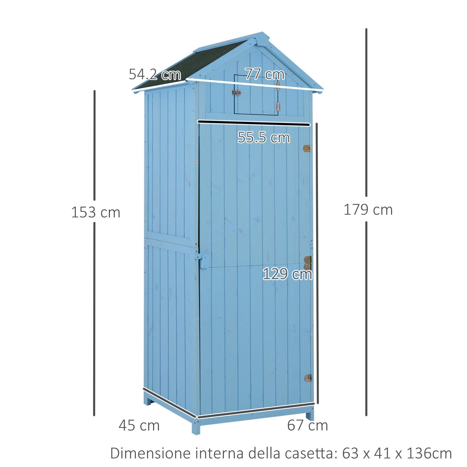 miniatura 5 - Outsunny  Armadietto da Giardino Esterno Porta Attrezzi in Legno con 3 Mensole