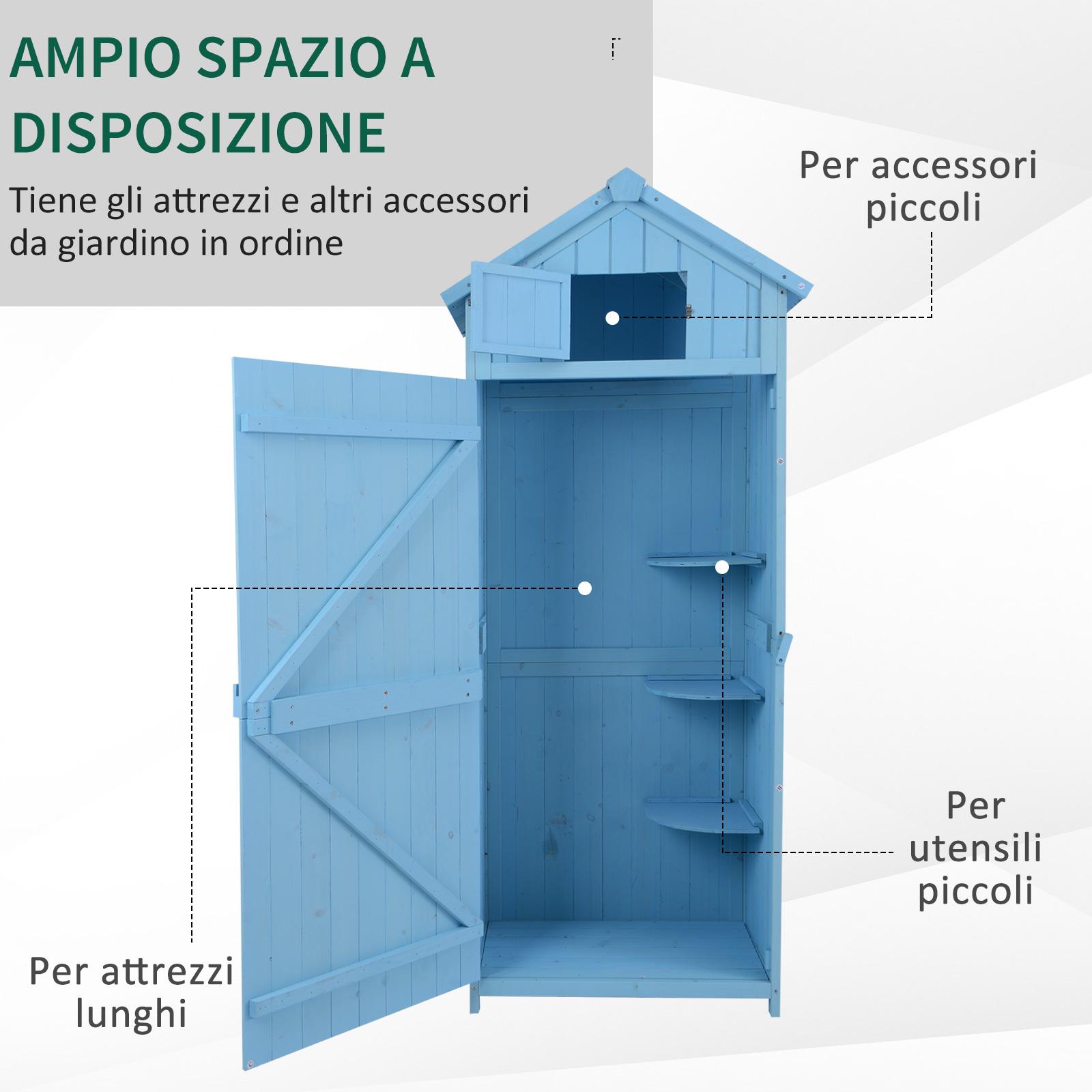 miniatura 7 - Outsunny  Armadietto da Giardino Esterno Porta Attrezzi in Legno con 3 Mensole