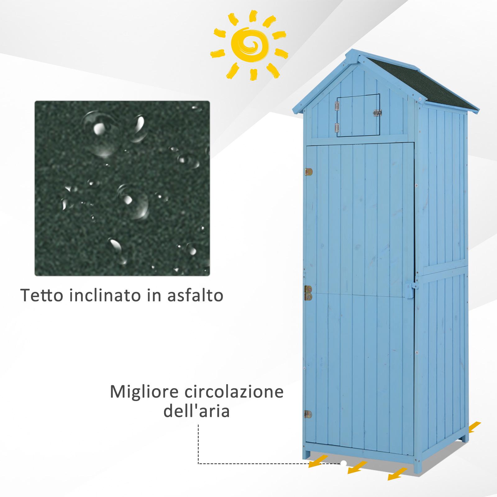 miniatura 8 - Outsunny  Armadietto da Giardino Esterno Porta Attrezzi in Legno con 3 Mensole