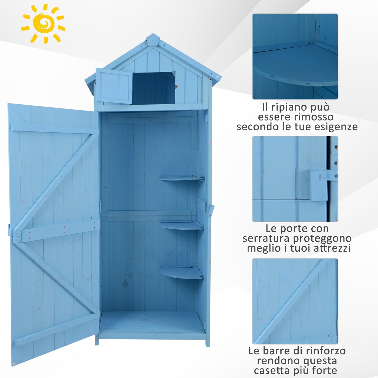 miniatura 9 - Outsunny  Armadietto da Giardino Esterno Porta Attrezzi in Legno con 3 Mensole